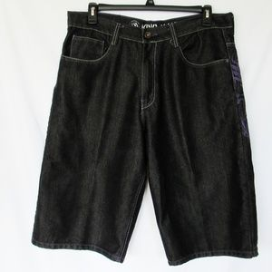 KM King Maker Men's Black Jean Denim Shorts